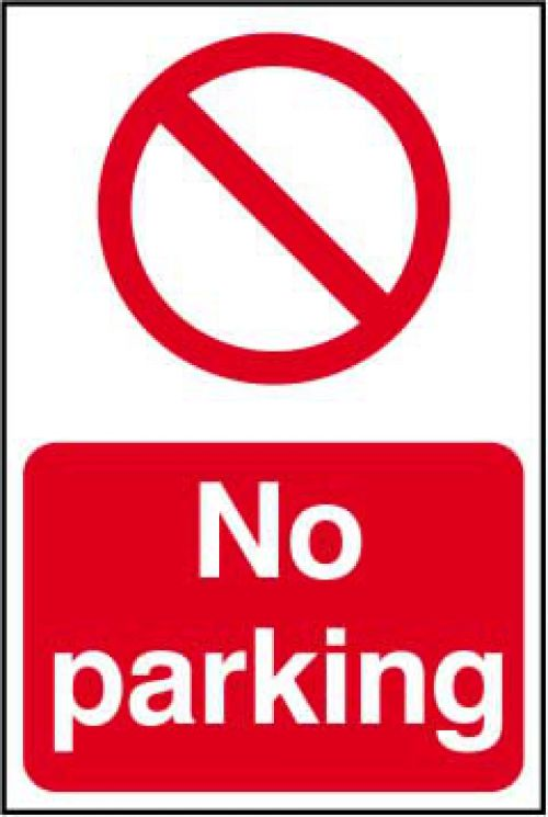 Self adhesive semi-rigid PVC No Parking Sign (200 x 300mm). Easy to fix, simply peel off the backing and apply to a clean, dry surface.