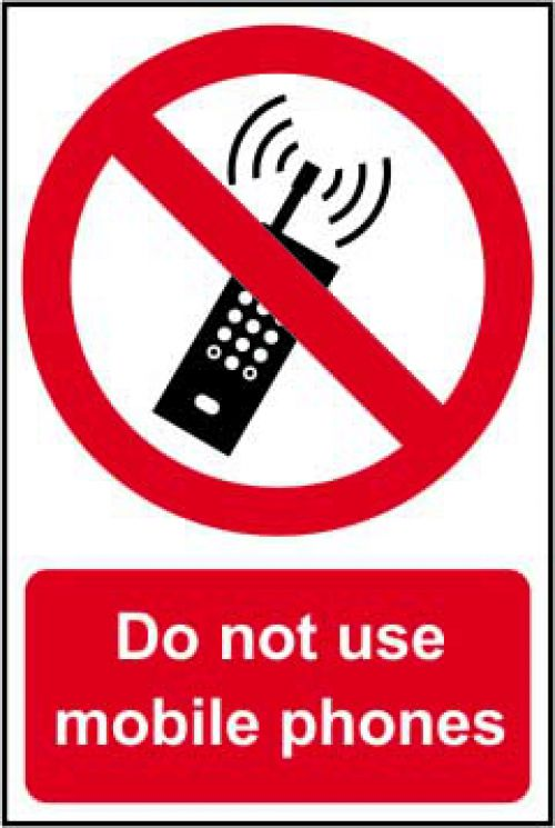 Self adhesive semi-rigid PVC Do Not Use Mobile Phones Sign (200 x 300mm). Easy to fix, simply peel off the backing and apply to a clean, dry surface.