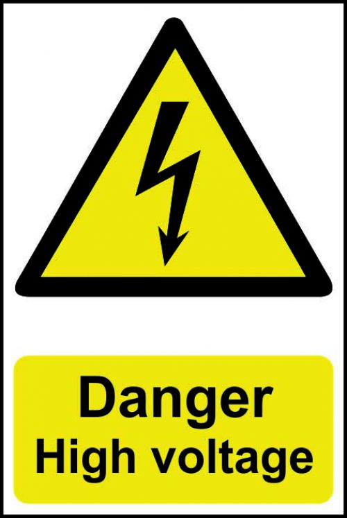 Self adhesive semi-rigid PVC Danger High Voltage Sign (200 x 300mm). Easy to fix, peel off the backing and apply to a clean and dry surface.