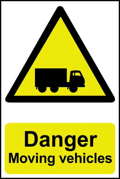 Self adhesive semi-rigid PVC Danger Moving Vehicles Sign (200 x 300mm). Easy to fix, peel off the backing and apply to a clean and dry surface.