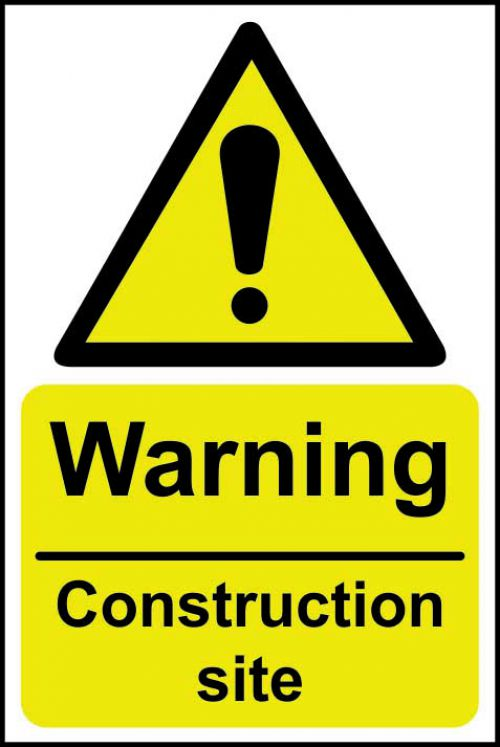 Self adhesive semi-rigid PVC Warning Construction Site Sign (200 x 300mm). Easy to fix, peel off the backing and apply to a clean and dry surface.