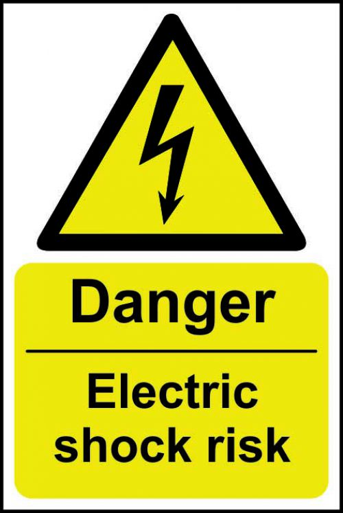 Danger Electric Shock Risk sign (200 x 300mm). Manufactured from strong rigid PVC and is non-adhesive, 0.8mm thick.