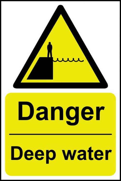 Danger Deep Water sign (200 x 300mm). Manufactured from strong rigid PVC and is non-adhesive, 0.8mm thick.