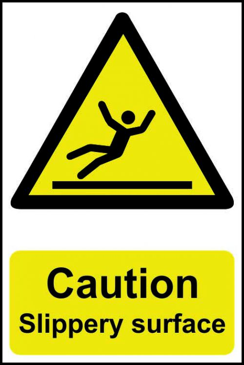 Self adhesive semi-rigid PVC Caution Slippery Surface Sign (200 x 300mm). Easy to fix, peel off the backing and apply to a clean and dry surface.