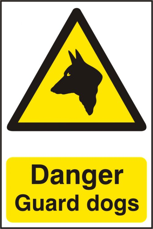 Self adhesive semi-rigid PVC Danger Guard Dogs Sign (200 x 300mm). Easy to fix, peel off the backing and apply.