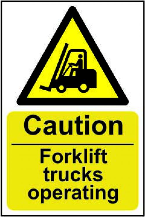 Caution Fork Lift Trucks Operating sign (200 x 300mm). Manufactured from strong rigid PVC and is non