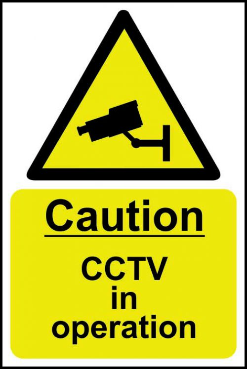 Caution CCTV In Operation sign (200 x 300mm). Manufactured from strong rigid PVC and is non-adhesive, 0.8mm thick.
