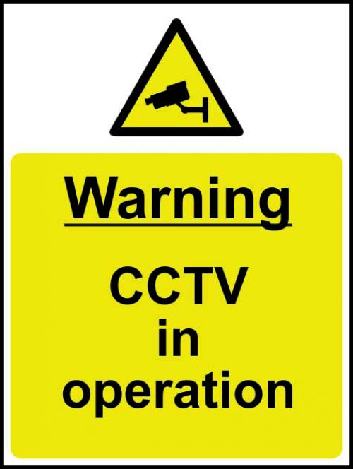 Warning CCTV In Operation sign (300 x 400mm). Manufactured from strong rigid PVC and is non-adhesive, 0.8mm thick.