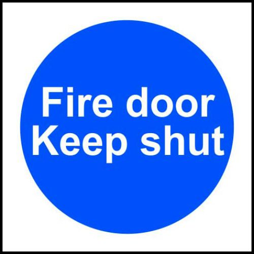 Self-adhesive vinyl Fire Door Keep Shut sign (100 x 100mm). Easy to use, simply peel off the backing and apply to a clean dry surface.
