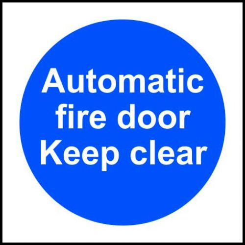 Self-adhesive vinyl Automatic Fire Door Keep Clear sign (100 x 100mm). Easy to use, simply peel off the backing and apply to a clean dry surface.