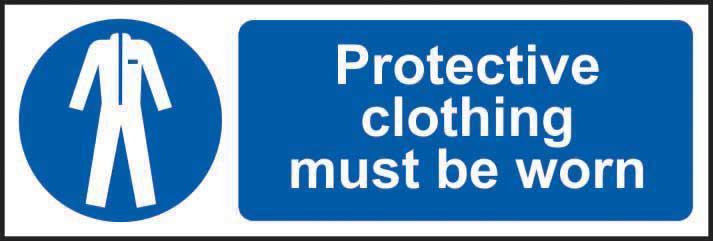 Mandatory Rigid PVC Sign (300 x 100mm) - Protective Clothing Must Be Worn
