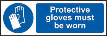 Mandatory Self-Adhesive Vinyl Sign (300 x 100mm) - Protective Gloves Must Be Worn