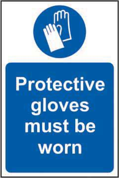 Mandatory Self-Adhesive Vinyl Sign (200 x 300mm) - Protective Gloves Must Be Worn