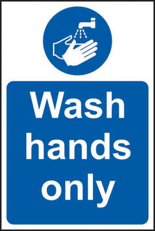Self-adhesive vinyl Wash Hands Only sign (200 x 300mm). Easy to use, simply peel off the backing and apply to a clean dry surface.