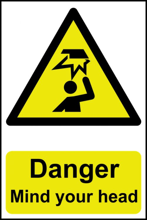 Self adhesive semi-rigid PVC Danger Mind Your Head Sign (200 x 300mm). Easy to fix, peel off the backing and apply.