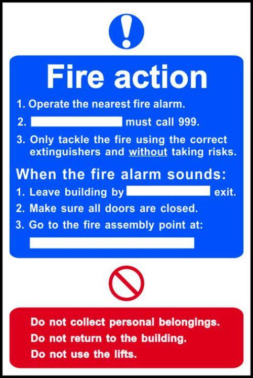 Fire Action Procedure Sign, Rigid PVC