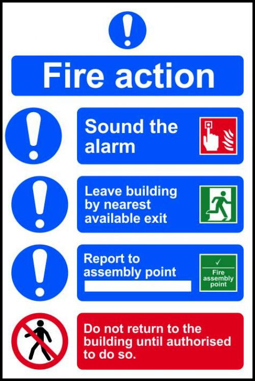 Self-adhesive vinyl Fire Action Procedure sign (200 x 300mm). Easy to use, simply peel off the backing and apply to a clean dry surface.