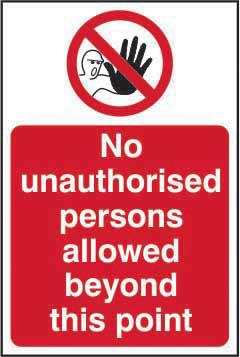 Persons Allowed Beyond This Point Sign