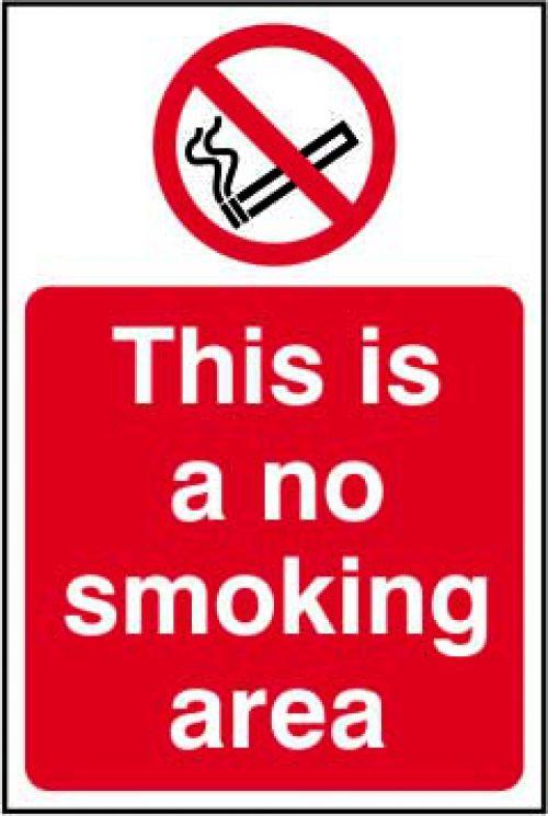 No Smoking Area Sign Rigid 1mmPVC Brd