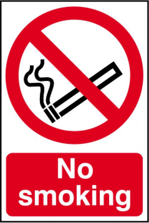 No Smoking sign (148 x 210mm). Manufactured from strong rigid PVC and is non-adhesive, 0.8mm thick.