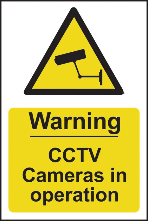 Warning CCTV In Operation sign (148 x 210mm). Manufactured from strong rigid PVC and is non-adhesive
