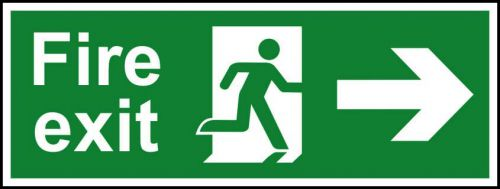 Self-Adhesive Vinyl Fire Exit sign with running man and arrow right (400 x 150mm). Easy to use and fix.