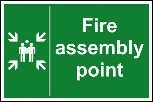 Fire Assembly Point sign (400 x 600mm). Manufactured from strong rigid PVC and is non-adhesive, 0.8mm thick.