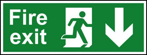 Fire Exit sign with running man and arrow down (400 x 150mm). Manufactured from strong rigid PVC and is non-adhesive, 0.8mm thick.