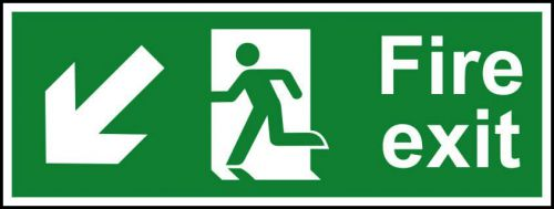 Self-Adhesive Vinyl Fire Exit sign with running man and arrow down left (400 x 150mm). Easy to use and fix.