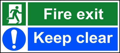 Self-Adhesive Vinyl Fire Exit Keep Clear safety instruction sign with running man and arrow down right (600 x 200mm). Easy to use and fix.