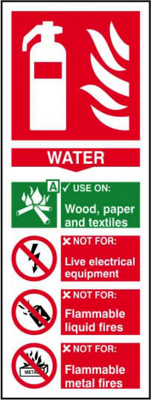 Self-adhesive vinyl Fire Extinguisher Composite Water sign (82 x 202mm). Easy to use, simply peel off the backing and apply to a clean dry surface.