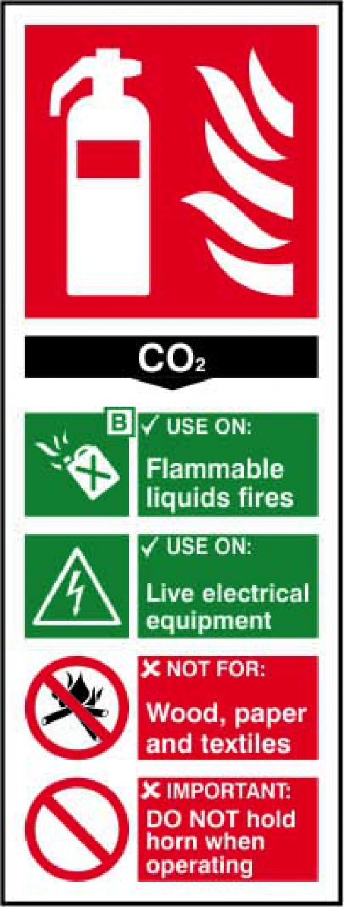Fire Extinguisher Composite CO2 sign (82 x 202mm). Manufactured from strong rigid PVC and is non-adh