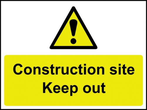 Construction Site Keep Out sign (600 x 450mm). Manufactured from strong rigid PVC and is non-adhesive, 0.8mm thick.