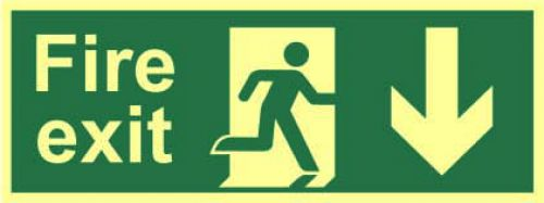 Fire Exit Sign with running man and arrow down (400 x 150mm). Made from 1.3mm rigid photoluminescent board (PHO) and is self adhesive.