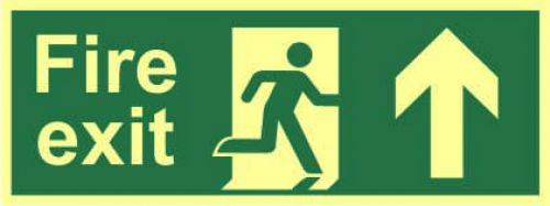 Fire Exit Sign with running man and arrow up (400 x 150mm). Made from 1.3mm rigid photoluminescent b
