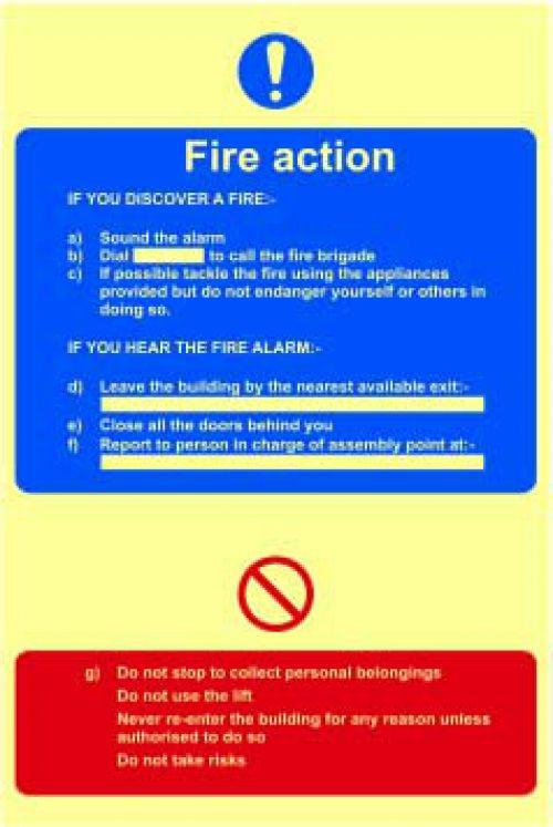 FireActionProcedureSignRigid S/A Lum.Brd