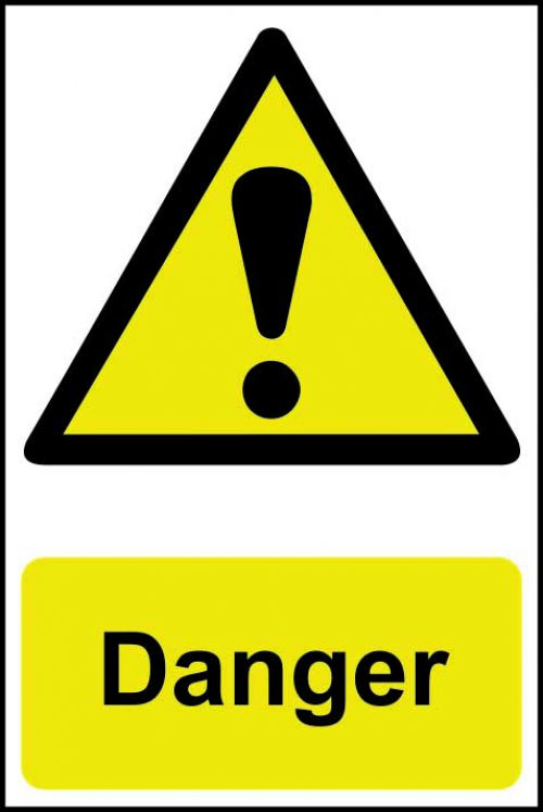 Self adhesive semi-rigid PVC Danger Sign (200 x 300mm). Easy to fix, peel off the backing and apply to a clean and dry surface.
