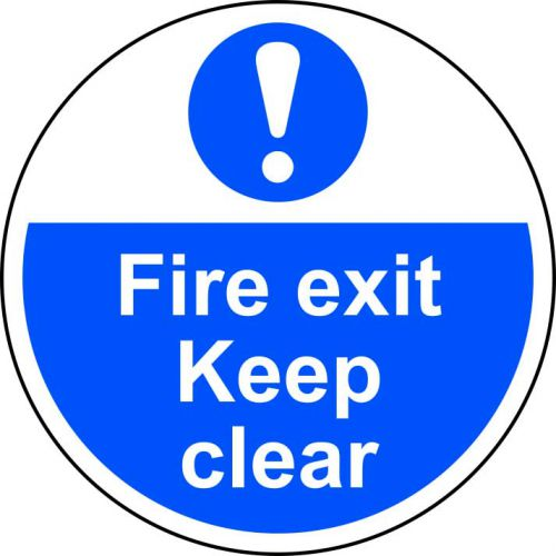 Fire Exit Keep Clear Floor Graphic adheres to most smooth, clean flat surfaces and provides a durable long lasting safety message. 400mm diameter.