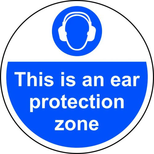 This Is An Ear Protection Zone Floor Graphic adheres to most smooth, clean flat surfaces & provides a durable long lasting safety message. 400mm dia.