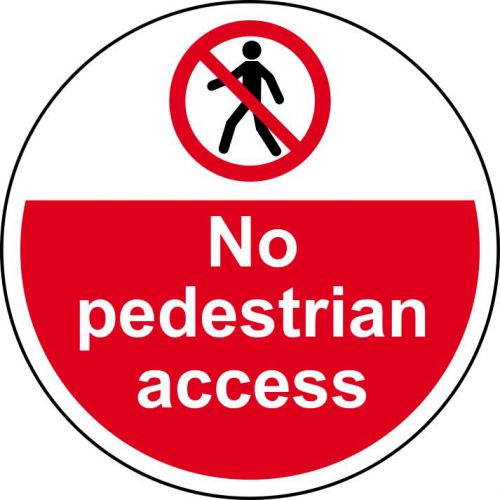 No pedestrian Access Floor Graphic adheres to most smooth, clean flat surfaces and provides a durable long lasting safety message. 400mm diameter.