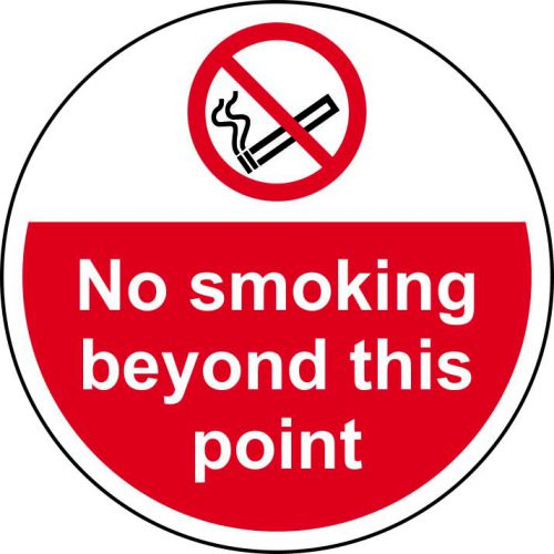 No Smoking Beyond This Point Floor Graphic adheres to most smooth, clean flat surfaces and provides a durable long lasting safety message. 400mm dia.
