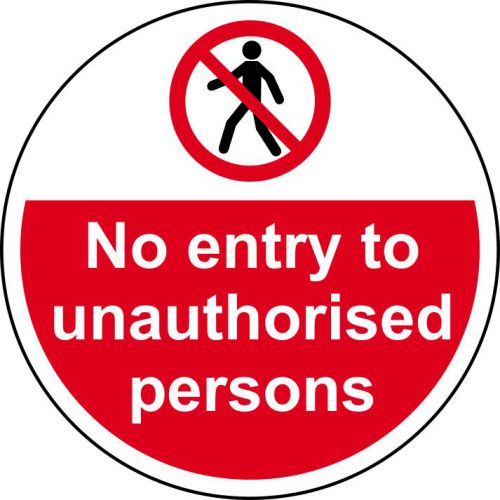 No Entry To Unauthorised Persons Floor Graphic adheres to most smooth, clean flat surfaces. Provides a durable long lasting safety message. 400mm dia.