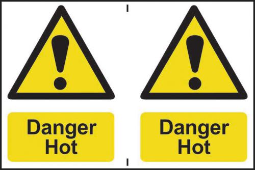 Self adhesive semi-rigid PVC Danger Hot Sign (150 x 200mm). Easy to fix, peel off the backing and apply to a clean and dry surface.