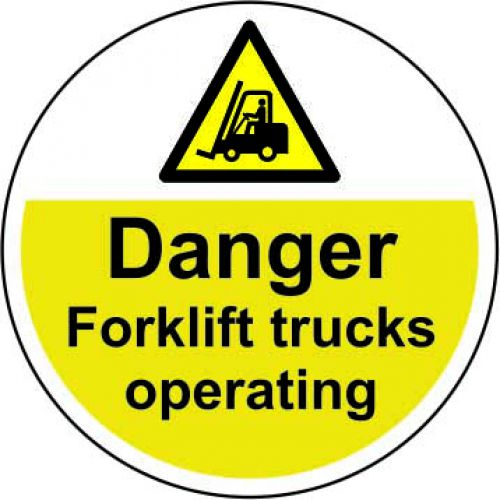Danger Forklift Trucks Operating Floor Graphic adheres to most smooth, clean flat surfaces. Provides a durable long lasting safety message. 400mm dia.