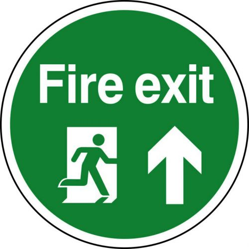 Fire Exit Running Man Floor Graphic adheres to most smooth, clean flat surfaces and provides a durable long lasting safety message. 400mm diameter.