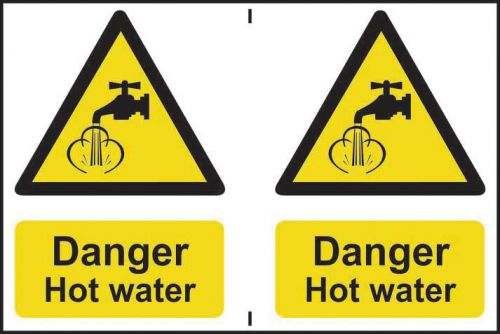 Self adhesive semi-rigid PVC Danger Hot Water Sign (150 x 200mm). Easy to fix, peel off the backing and apply to a clean and dry surface.