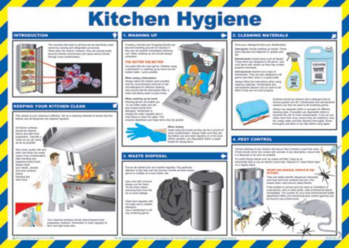 Safety Poster - Kitchen Hygiene (590 x 420mm) made from laminated paper.
