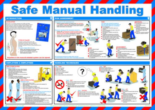Safe Manual Handling Safety Poster (590 x 420mm) made from laminated paper.