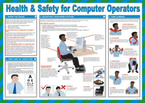 Safety Poster - H&S For Computer Operators (590 x 420mm) made from laminated paper.