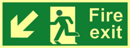 Fire Exit Sign with running man and arrow down left (400 x 150mm). Made from 1.3mm rigid photoluminescent board (PHO) and is self adhesive.